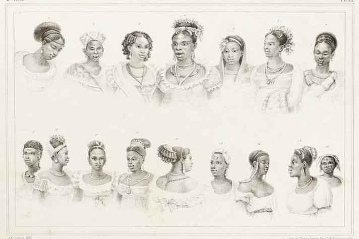Escravas negras de diferentes nações, c.1834-1839. Litografia sobre papel de Jean-Baptiste Debret