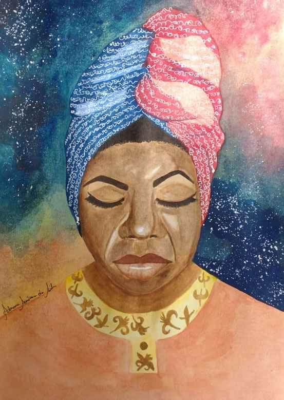 A obra 'Nina Simone' (aquarela sobre papel) lembra a cantora e ativista pelos direitos dos negros