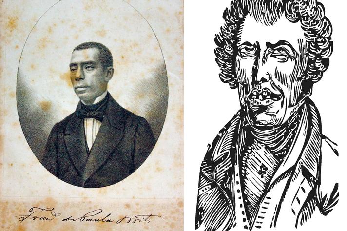 """Retrato de Francisco de Paula Brito e caricatura de um """"petalógico boquirroto"""" que ilustra o cabeçalho de O corretor de petas"""