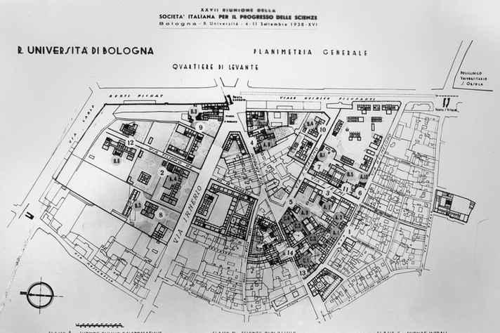 Planta geral da Universidade de Bolonha em 1938