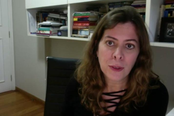 Cristina Alvim em evento on-line durante a pandemia: