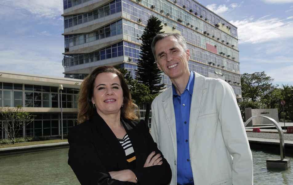 <p>Reitora Sandra Regina&nbsp;Goulart Almeida e vice-reitor Alessandro Fernandes&nbsp;Moreira</p>