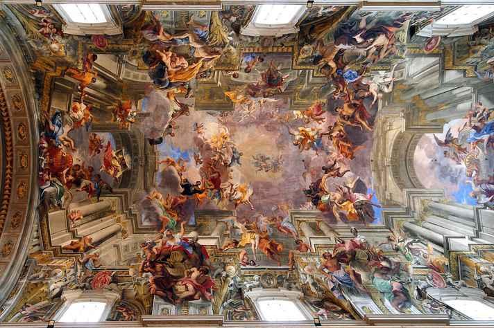 'Apoteose de Santo Inácio', afresco do pintor Andrea Pozzo no teto da Igreja de Santo Inácio de Loyola, em Roma