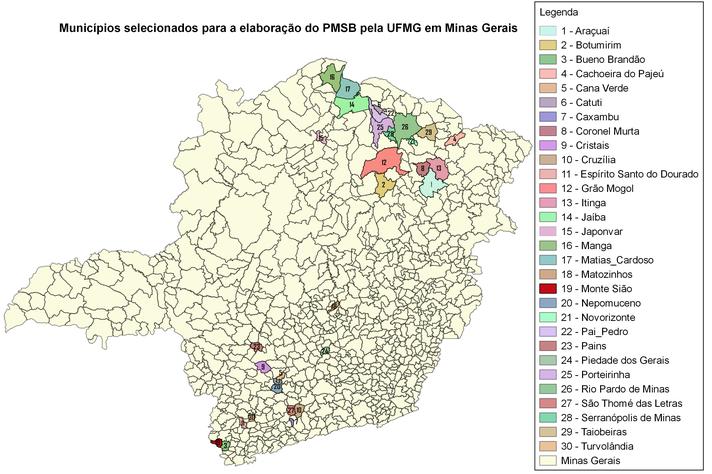 Mapa mostra os municípios contemplados pela pesquisa-ação [clique para ampliar]