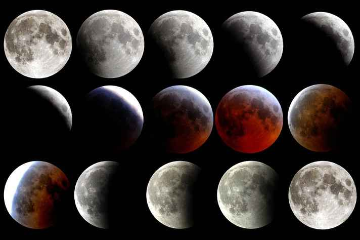 Imagem exemplifica fases do eclipse lunar