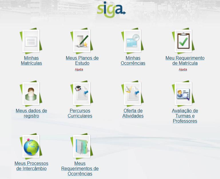Plataforma Siga é acessada pelo portal MinhaUFMG
