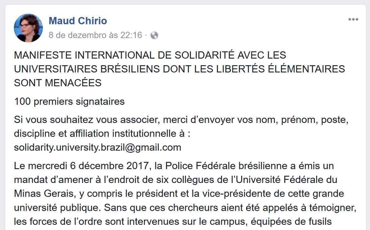 Print screen de manifestos distribuídos entre intelectuais franceses e norte-americanos