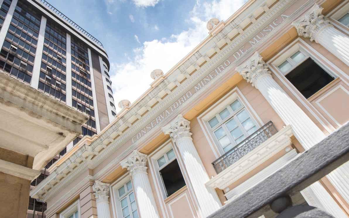 Detalhe da fachada do Conservatório da UFMG (2015).