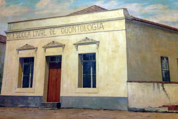 Escola Livre de Odontologia representada na pintura de Gentil Garcez, de 1942.