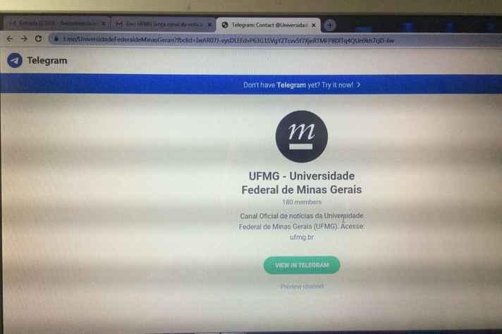 UFMG no Telegram: resumo do conteúdo noticioso produzido pelas suas mídias