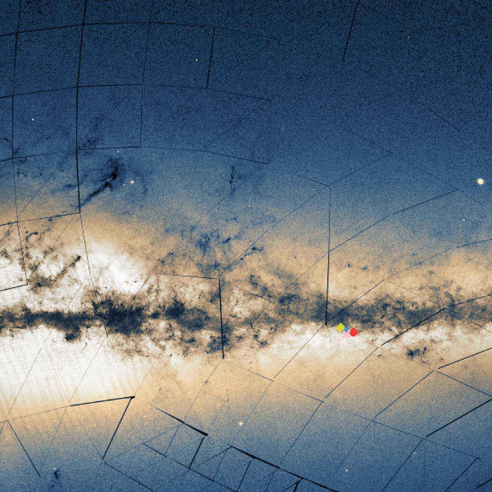 Visão panorâmica da Via Láctea com as posições dos aglomerados UFMG 1 (vermelho), UFMG 2 (azul) e UFMG 3 (amarelo), descobertos pela equipe do ICEx quando estudava o NGC 5999 (rosa). As regiões escuras representam nuvens interestelares de gás e poeira. A luz das estrelas que compõem a galáxia gera o brilho esbranquiçado que permeia a área central da imagem