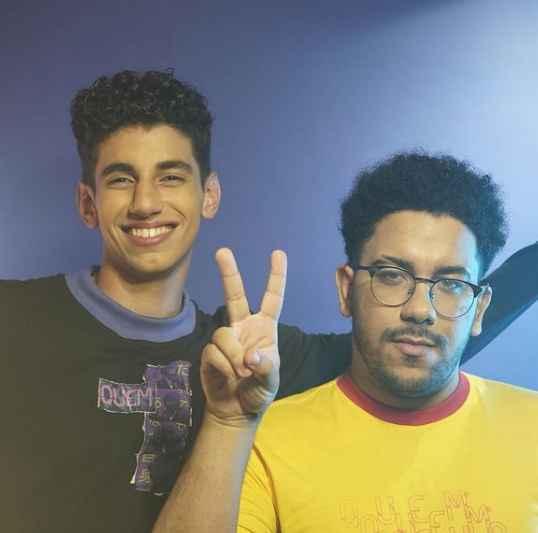Os amigos Linguini e VHOOR, na gravação do novo videoclipe