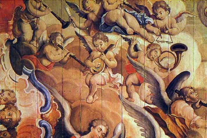 'Anjos músicos', detalhe da Assunção de Nossa Senhora,  na Igreja de São Francisco, em Ouro Preto