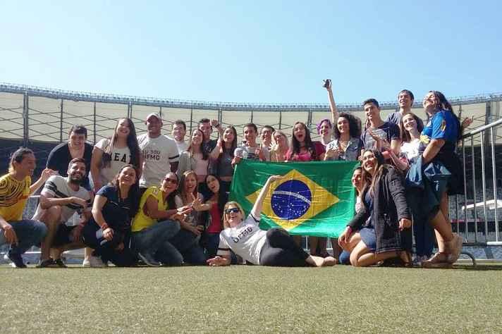 Estudantes na semana de recepção do aluno internacional realizada em agosto