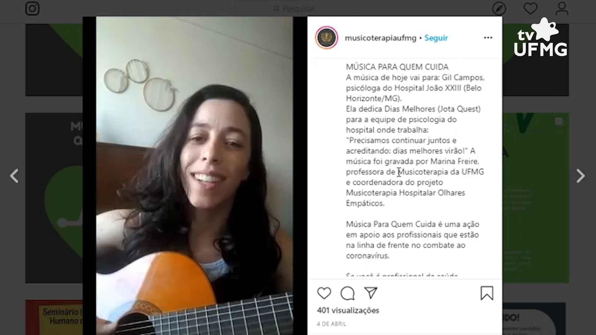 Projeto de extensão 'Música para quem cuida' oferece canções para profissionais de saúde que estão na linha de frente do combate à pandemia