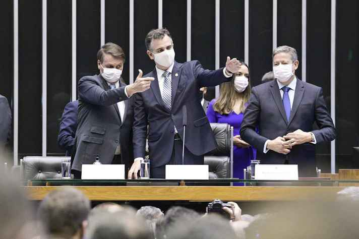 Bolsonaro, Pacheco e Lira, na abertura dos trabalhos legislativos em 2021