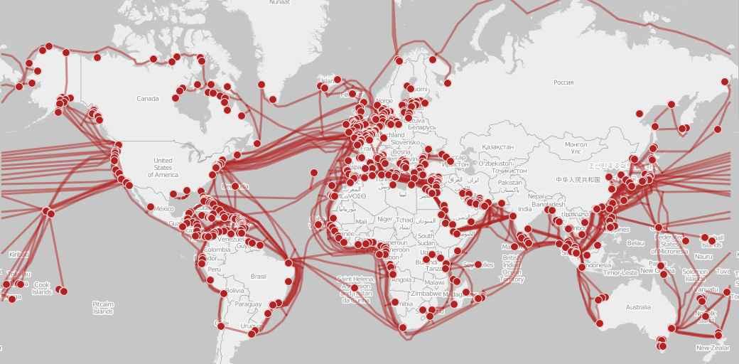 Mapa da rede de cabos submarinos da internet ao redor da Terra; infraestrutura da grande rede é um dos temas abordados no curso