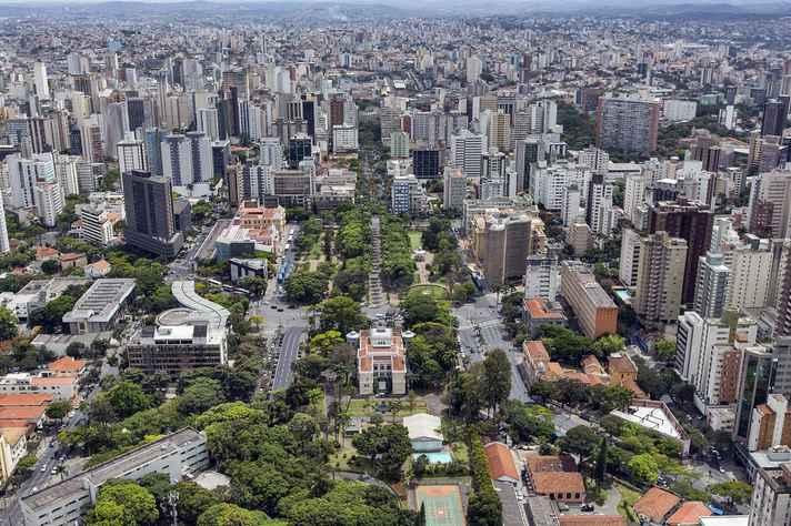 Vista aérea da área central de Belo Horizonte