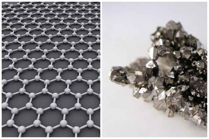 À esquerda, reprodução da estrutura do carbono, que dá origem ao grafeno. À direita, cristais de nióbio