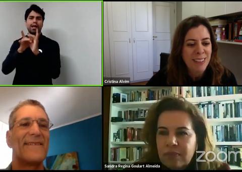No sentido horário, Cristina Alvim, Sandra Goulart Almeida, Bernardo Jefferson e o intérprete de libras