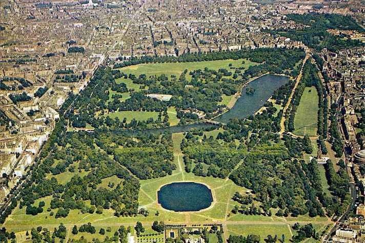 Vista aérea de parte do Hyde Park, o maior de Londres: capital do Reino Unido é um dos destinos de estudantes selecionados pelo programa