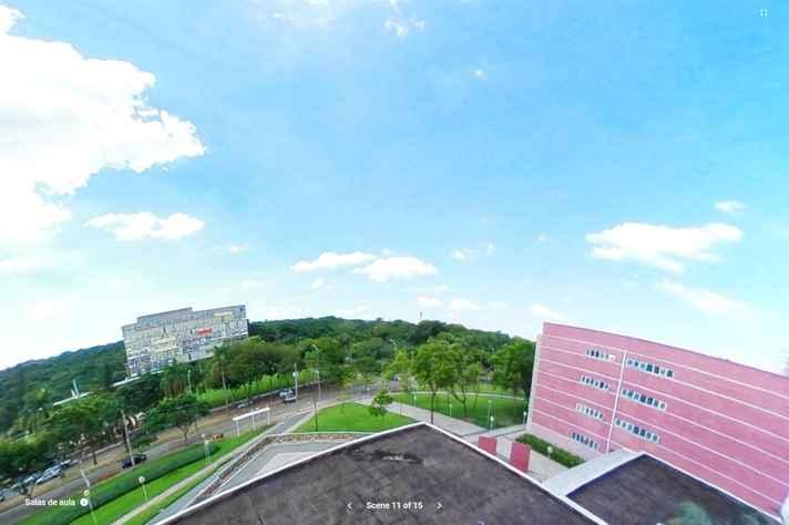 Imagem em 360º do prédio da Face (à direita) com a Reitoria ao fundo