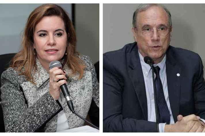 A reitora Sandra  Almeida e o pró-reitor de Pesquisa, Mario Campos, participam da cerimônia de abertura.