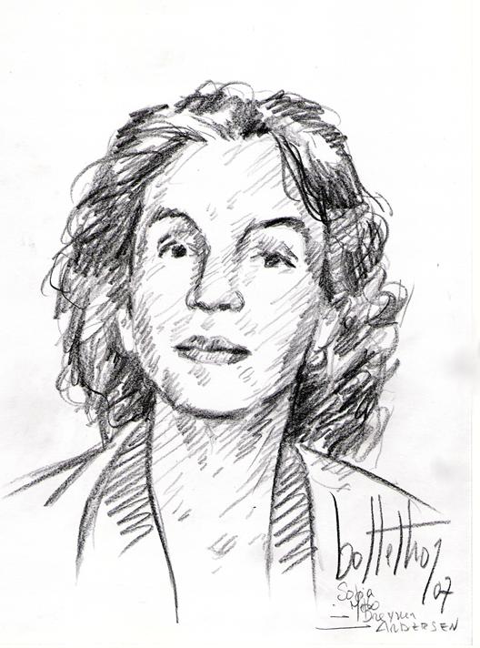 Retrato a crayon da poeta Sophia de Mello Breyner Andresen