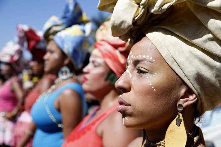 Dia da Mulher Negra Latino-Americana e Caribenha, durante 3ª Marcha das Mulheres Negras no Centro do Mundo, RJ 2017
