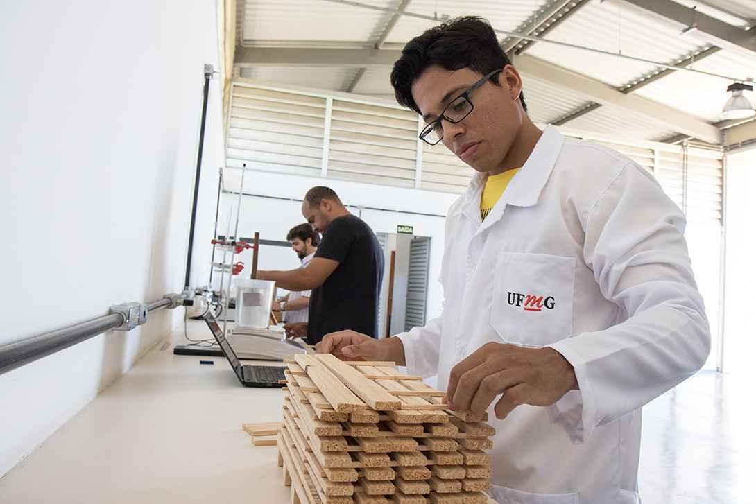 Thiago Magalhães do Nascimento analisa peças de eucalipto no Laboratório de Produtos Florestais do ICA
