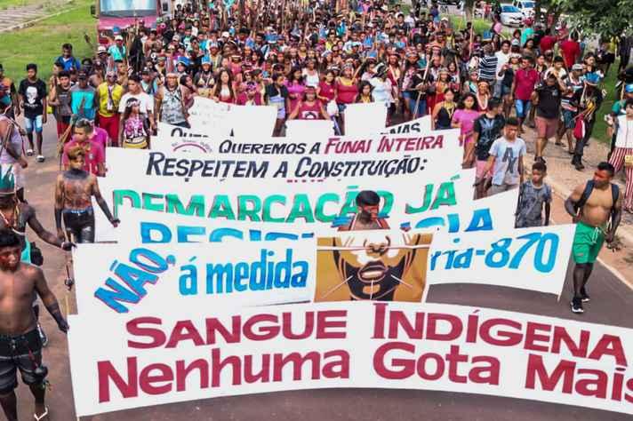 Ato em defesa dos direitos dos povos indígenas no Brasil