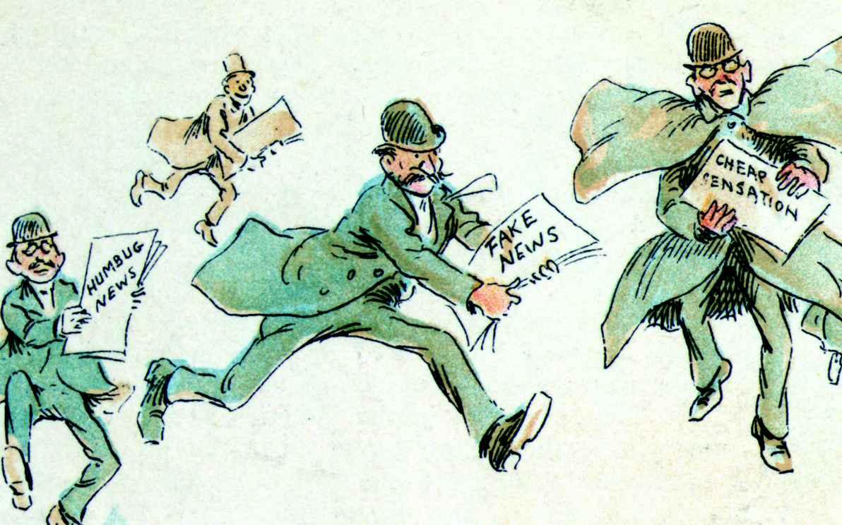 Cartum de 1894, de Frederick Burr Opper, retrata repórteres com vários tipos de notícias falsas