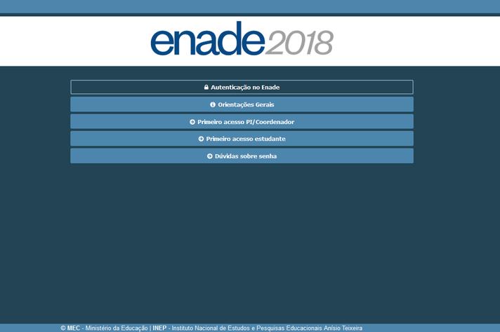 Ambiente de acesso ao portal do Enade 2018