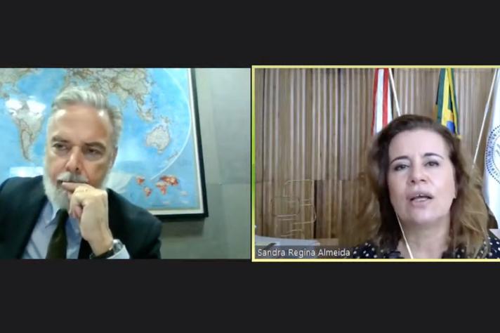 O embaixador Antônio Patriota e a reitora Sandra Regina Goulart Almeida destacaram a importância da parceria entre a UFMG e o governo egípcio