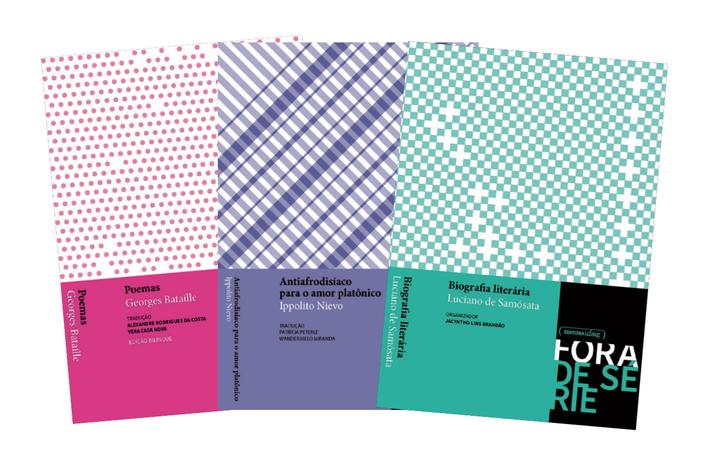 Capas dos três volumes da coleção Fora de Série