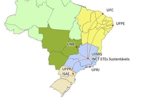 Mapa mostra as instituições participantes da rede de monitoramento de esgotos