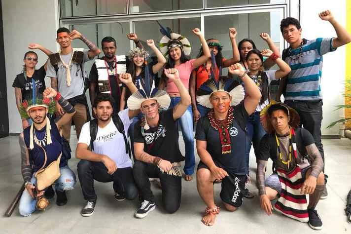Calouros indígenas da UFMG no evento de recepção em Belo Horizonte, em 2020