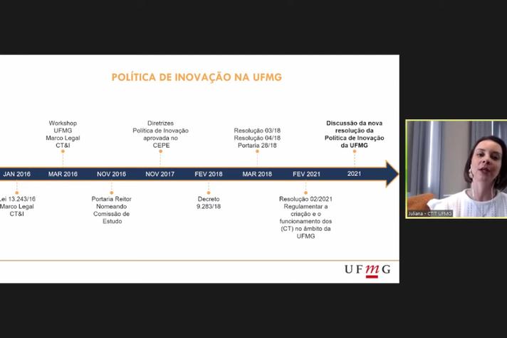 Juliana Crepalde, coordenadora da CTIT retomou a linha do tempo do processo de inovação