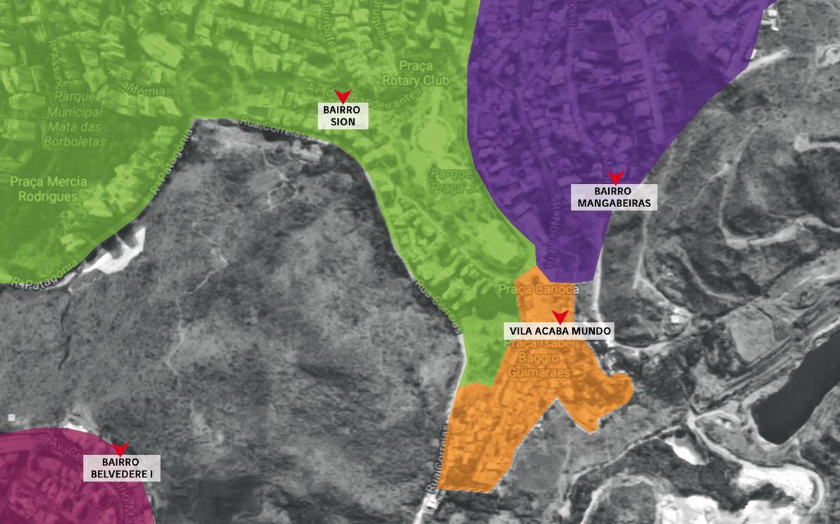 Vila Acaba Mundo (laranja) está localizada nas proximidades dos bairros Mangabeiras (roxo), Sion (verde) e Belvedere (rosa)