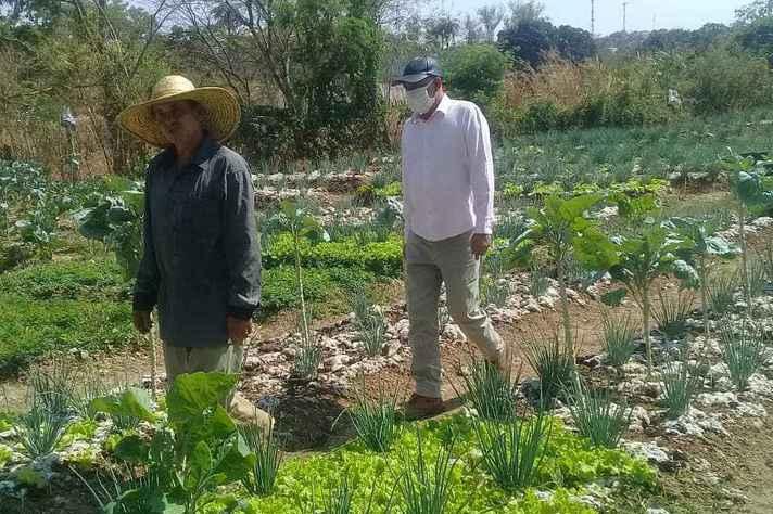 O professor Helder Augusto (de camisa branca) coordena projeto de agroecologia em Montes Claros