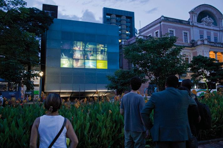 Fachada digital do Espaço do Conhecimento, na Praça da Liberdade