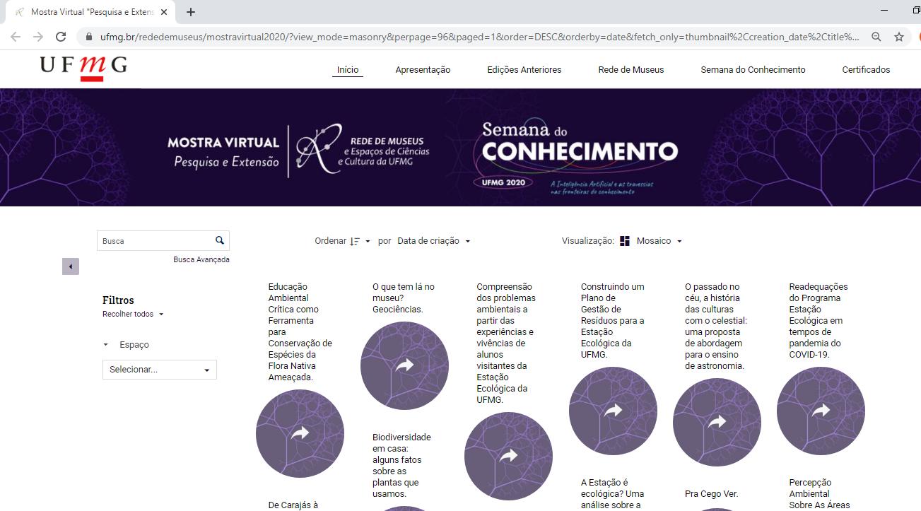 a página, é possível visualizar e conhecer os projetos, assistir a vídeos e interagir com autores