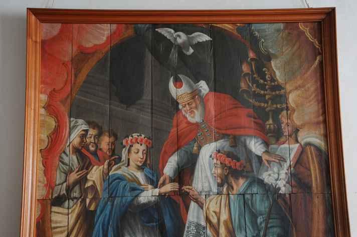 Os esponsais da Virgem, pintura de Manoel Ribeiro Rosa, oriunda da capela de São José dos Homens Pardos de Ouro Preto, atualmente no Museu Arquidiocesano de Mariana