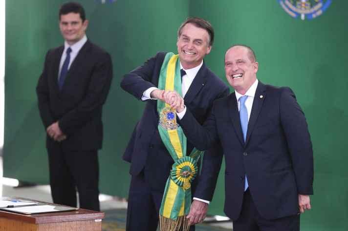 Jair Bolsonaro e o ministro da Casa Civil, Onyx Lorenzoni