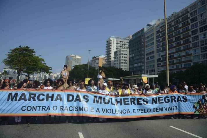 Marcha das Mulheres Negras em Copacabana, no Rio de Janeiro, realizada em 2019