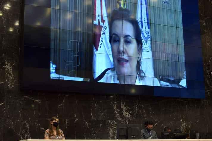 Reitora da UFMG fala em imagem projetada no telão do plenário Presidente Juscelino Kubitschek, na ALMG. Abaixo, compõem a mesa a deputada Laura Serrano e o deputado Cristiano Silveira