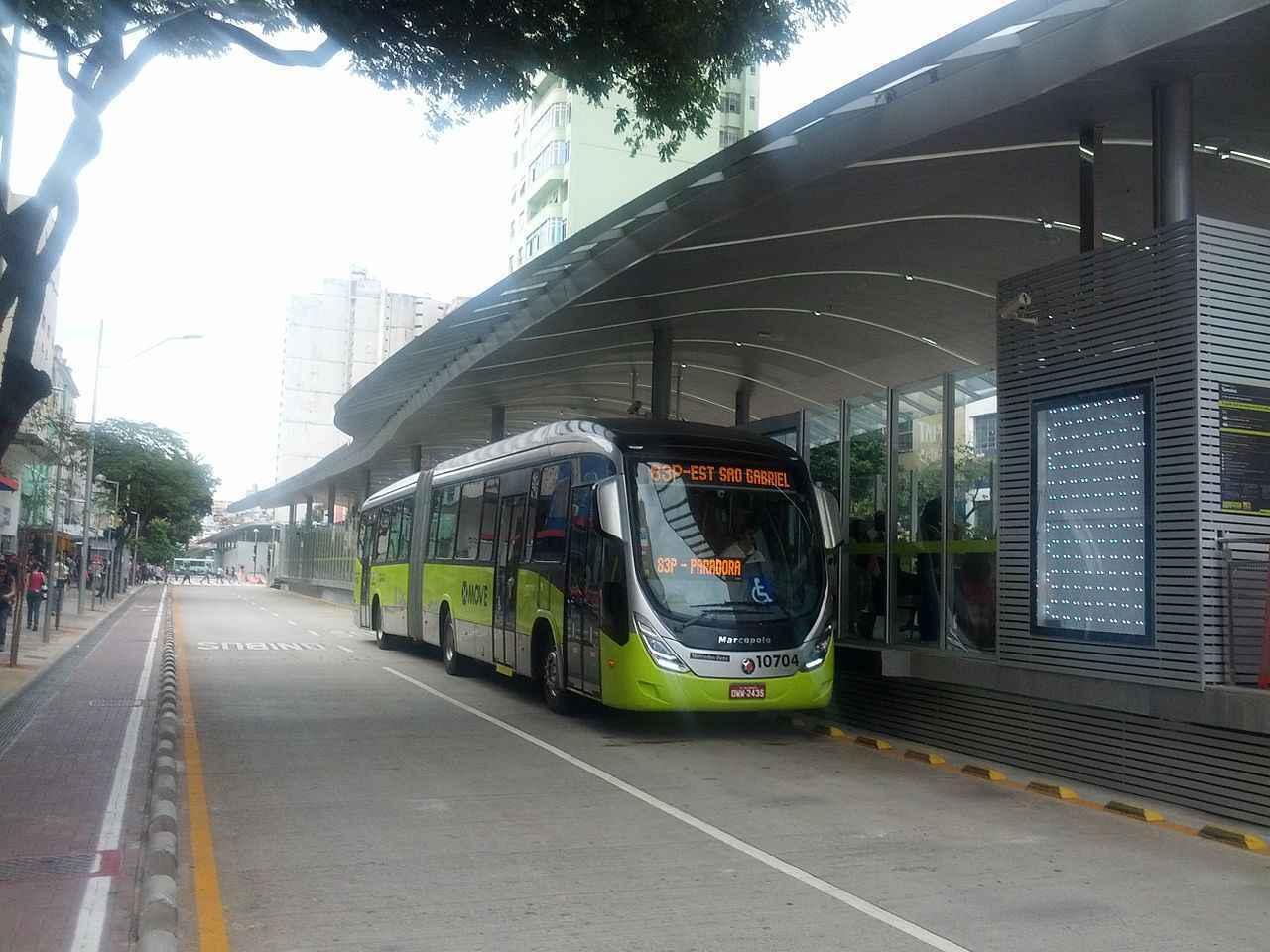 Estação do Move, na Avenida Paraná, no Centro de Belo Horizonte: