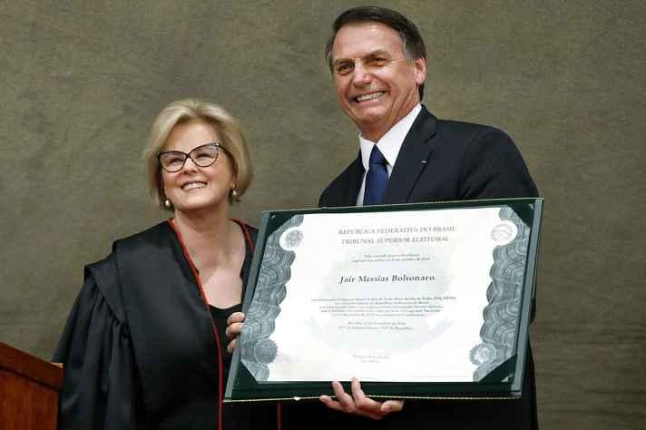 Presidente do TSE, ministra Rosa Weber, e presidente eleito, Jair Bolsonaro