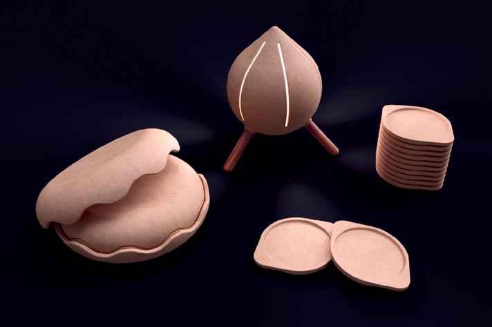Imagem renderizada de uma linha de bowl, luminária e porta-copo: mistura do resíduo de madeira com aglutinante