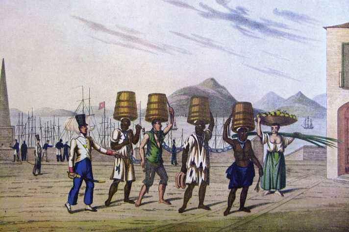 Escravos condenados às galés retratados pelo tenente e pintor Henry Chamberlain